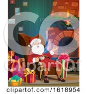 Santa Claus Drinking A Warm Beverage By A Fireplace by Vector Tradition SM