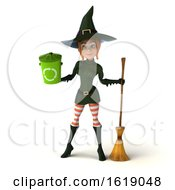 3d Sexy Green Witch On A White Background by Julos