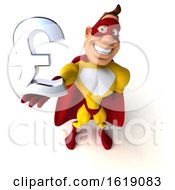 Poster, Art Print Of 3d Buff White Male Yellow And Red Super Hero On A White Background