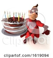 Poster, Art Print Of 3d Buff Red White Male Super Hero Holding A Birthday Cake On A White Background