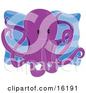Cute Purple Octopus Waving Its Tentacles Underwater In The Blue Ocean by Maria Bell