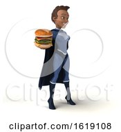 3d Young Female Black Super Hero In A Dark Blue Suit On A White Background