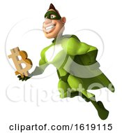 Poster, Art Print Of 3d Buff White Male Green Super Hero On A White Background