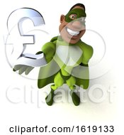 Poster, Art Print Of 3d Buff Black Male Green Super Hero On A White Background