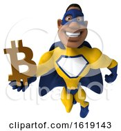 Poster, Art Print Of 3d Buff Black Male Yellow And Blue Super Hero On A White Background