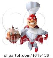 3d White Male Super Chef On A White Background