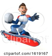 3d White Male Super Hero In A White Blue And Red Suit On A Hover Skateboard On A White Background