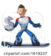 Poster, Art Print Of 3d White Male Super Hero In A White Blue And Red Suit On A Hover Skateboard On A White Background