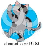 Gray Cat With Black Spots And Green Eyes Walking On Its Hind Legs And Waving by Maria Bell