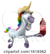 Poster, Art Print Of 3d Cowboy Unicorn On A White Background