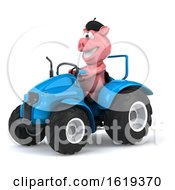 3d French Pig On A White Background