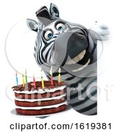 Poster, Art Print Of 3d Zebra On A White Background
