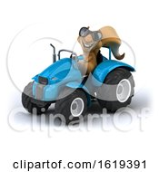 3d Squirrel Operating A Tractor On A White Background