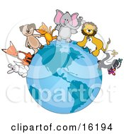 White Rabbit Fox Brown Dog Orange Cat Elephant With A Mouse On Its Trunk Lion Talking To A Sheep And Skunk Playing With Butterflies Standing On The Earth With A Faded Peace Symbol Standing For Peace On Earth Clipart Illustration Image by Maria Bell #COLLC16194-0034