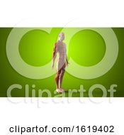Poster, Art Print Of 3d Muscle Man On A Green Background