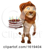 Poster, Art Print Of 3d Lion Holding A Birthday Cake On A White Background
