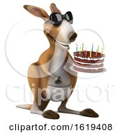 Poster, Art Print Of 3d Kangaroo Holding A Birthday Cake On A White Background