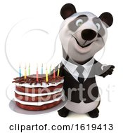 Poster, Art Print Of 3d Business Panda Holding A Birthday Cake On A White Background