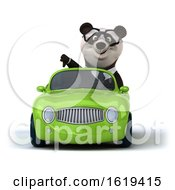Poster, Art Print Of 3d Business Panda Driving A Convertible Car On A White Background
