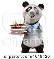 Poster, Art Print Of 3d Doctor Panda Holding A Birthday Cake On A White Background
