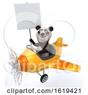 3d Panda Flying A Plane On A White Background