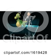 Poster, Art Print Of 3d Knight Chasing A Dragon Over A Smart Phone Screen