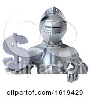 Poster, Art Print Of 3d Armored Knight Holding A Dollar Sign On A White Background
