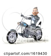 3d Caucasian Male Armored Knight Riding A Chopper Motorcycle On A White Background