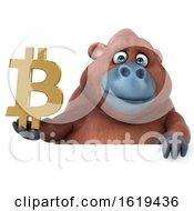 Poster, Art Print Of 3d Orangutan Monkey Holding A Bitcoin Symbol On A White Background