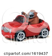 3d Orangutan Monkey Driving A Convertible On A White Background by Julos
