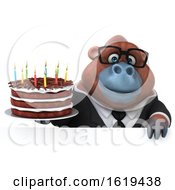 Poster, Art Print Of 3d Business Orangutan Monkey Holding A Birthday Cake On A White Background