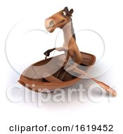 Poster, Art Print Of 3d Brown Horse Rowing A Boat On A White Background