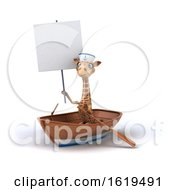 December 13th, 2018: 3d Giraffe Sailor Rowing A Boat On A White Background by Julos