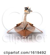 December 13th, 2018: 3d Giraffe Rowing A Boat On A White Background by Julos