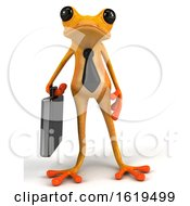 3d Yellow Business Frog On A White Background by Julos