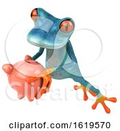 December 15th, 2018: 3d Turquoise Frog On A White Background by Julos