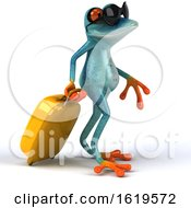 3d Turquoise Frog On A White Background