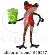 Poster, Art Print Of 3d Red Frog On A White Background