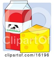 Carton Of Milk With A Dairy Cow Picture Resting On A Counter Beside A Block Of Swiss Cheese Clipart Illustration Image
