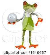 3d Green Gardener Frog On A White Background