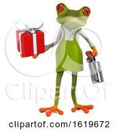 3d Green Gardener Frog On A White Background