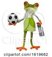 Poster, Art Print Of 3d Green Gardener Frog On A White Background