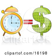 Golden Alarm Clock By A Dollar Sign Time Equals Money