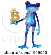 Poster, Art Print Of 3d Blue Frog On A White Background