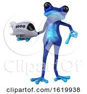 3d Blue Frog On A White Background