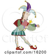 Male Jester In Colorful Costume Holding A Magic Wand Clipart Illustration Image