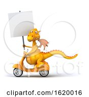 3d Yellow Dragon On A White Background
