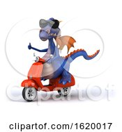 3d Purple Dragon Riding A Scooter On A White Background