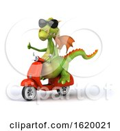 3d Green Dragon On A White Background