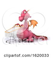 3d Pink Dragon On A White Background